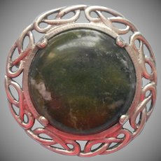Irish Sterling Connemara Marble Celtic Pin Vintage
