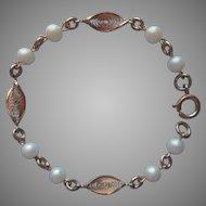 Vintage Bracelet Dainty Gold Filled Filigree Faux Pearls