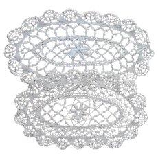 Bread Tray Doilies 2 Vintage Bobbin Lace Handmade