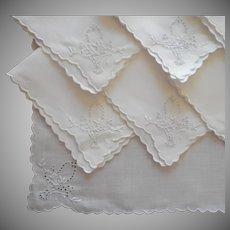1920s Tea Napkins Vintage Linen Cutwork Hand Embroidered
