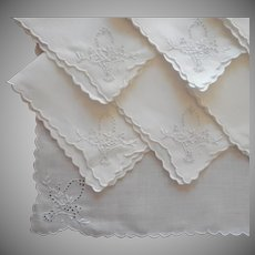 1920s Tea Napkins Vintage Linen Cutwork Hand Embroidered