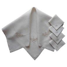 Italian Work Embroidery Vintage Linen Tea Tablecloth Napkins Set Simple
