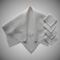 Italian Work Embroidery Vintage Linen Tea Tablecloth Napkins Set Simple