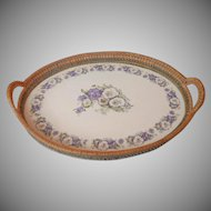 Antique Tea Tray China Pansies In Basket Woven Frame 1910s