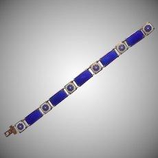 David Anderson Norway Vintage Enamel Sterling Silver Bracelet Cobalt Blue