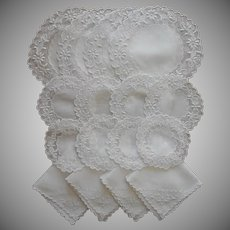 ca 1920 Luncheon Set Doilies Napkins For 4 Hand Embroidered White Work