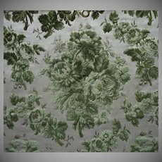 Vintage Fabric Sample Cut Velvet Green Floral Upholstery
