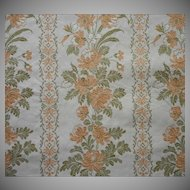 Vintage Fabric Sample Peach Green Cotton Brocade Upholstery