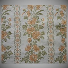 Vintage Fabric Sample Peach Green Cotton Brocade Upholstery