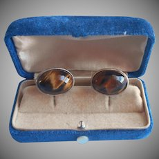 Vintage Cufflinks Vermeil Sterling Silver Tiger Eye Gold Wash