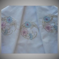 1920s Novelty Tea Tablecloth Hand Embroidered Flaps