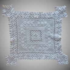 1920s Hardanger Centerpiece Doily Vintage Hand Embroidery Unusual Shape