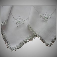 1920s Italian Work Linen Tea Tablecloth 2 Napkins Hand Embroidery