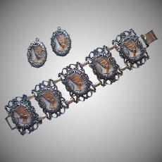 Vintage Big Links Bracelet Nefertiti Glass Drops For Earrings TLC