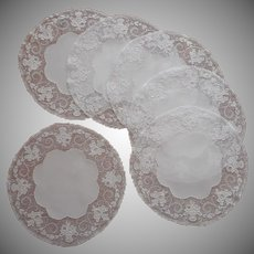 1920s Lace Linen 6 Luncheon Doilies Vintage Flower Baskets