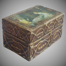Little Italian Gesso Gilt Wooden Box Vintage Decoupage Lid