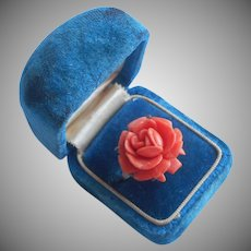 1930s Celluloid Brass Ring Vintage Faux Coral Rose
