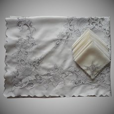 Cutwork Tablecloth 12 Napkins Set Vintage Linen Hand Embroidery TLC