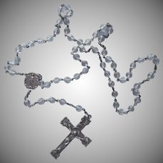 Classic Sterling Silver Rosary Ornate Crucifix Crystal Beads Vintage