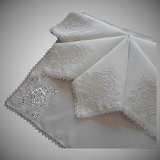 1920s Napkins Cutwork Hand Embroidery Needle Lace Vintage Set