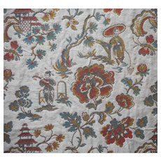 Vintage Fabric Brocade Chinoiserie Heavy Thick Upholstery