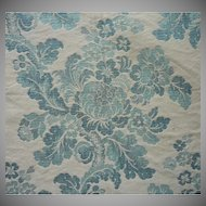 Vintage Fabric Thick Blue Cream Jacquard Floral Upholstery