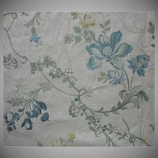 Vintage Fabric Brocade  Blue Green Oyster Flowers Vines Upholstery