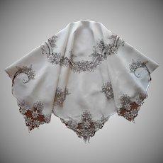 Madeira Square Tablecloth Deep Ecru Hand Embroidery Cutwork TLC