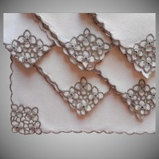 Madeira Napkins Tea Small Luncheon Vintage Deep Ecru Cutwork Linen