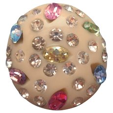 Weiss Single Earring Thermoplastic Pastel Rhinestones Signed