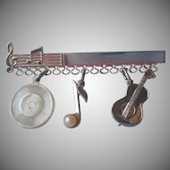 Sterling Silver Bar Pin To Hang Charms Vintage Record Music Note Guitar