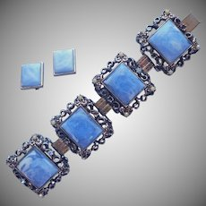 Vintage Set Big Plaques Links Bracelet Earrings Blue Plastic TLC