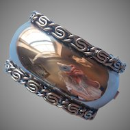Vintage Big Wide Heavy Hinged Cuff Bracelet Silver Tone Metal