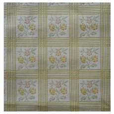 Vintage Fabric Heavy Cotton Jacquard Celery Checks Upholstery