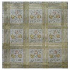 Vintage Fabric Heavy Cotton Jacquard Celery Checks Upholstery