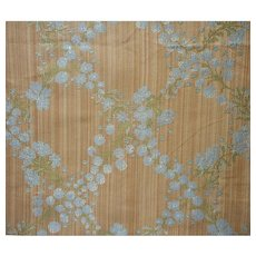 Vintage Fabric Strie Garlands Tan Blue Green Brocade Upholstery