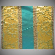Vintage Fabric Silk Damask Teal Bronze Stripe Upholstery