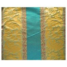 Vintage Fabric Silk Damask Teal Bronze Stripe Upholstery