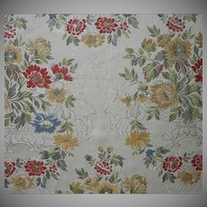 Vintage Fabric Italian Brocade Rich Colors On Cream Upholstery