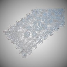 Antique Crocheted Lace Narrow Runner Filet Roses