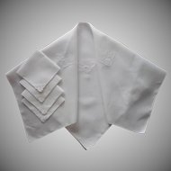 Luncheon Set Tablelcoth 4 Napkins Square Lace Inserts TLC