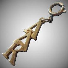 Alpha Delta Kappa Vintage Sorority Charm Gold Filled