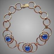 1940s Bracelet Gold Filled Vintage Circles Blue Glass Stones
