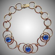 1940s Bracelet Gold Filled Vintage Circles Blue Glass Stones