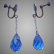 Edwardian Earrings Briolette Dangle Drop Antique Blue Crystal