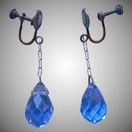 Edwardian Earrings Briolette Dangle Drop Antique Blue Crystal
