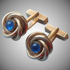 Classic Cuff Links Cufflinks Knot Faux Sapphire Vintage Swank