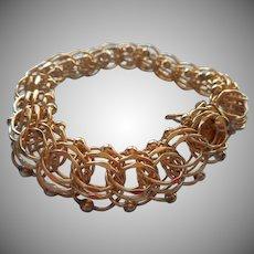Gold Filled Triple Link Charm Bracelet Vintage