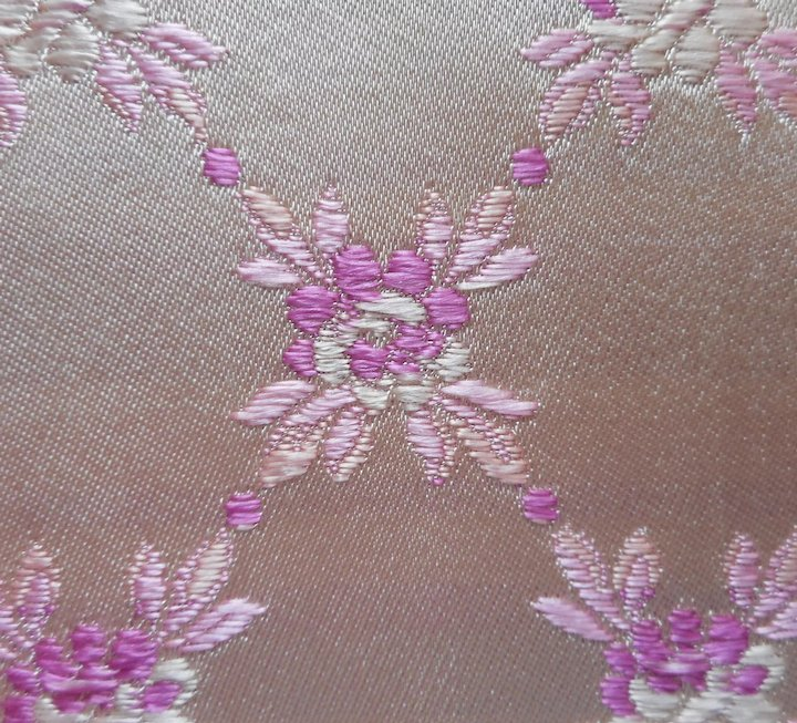 Vintage Fabric Sample 1950s Satin Brocade Orchid Magenta Upholstery
