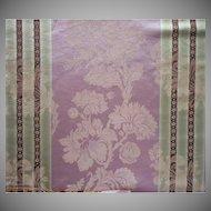 Vintage Fabric Sample French Linen Cotton Damask Stripe Upholstery